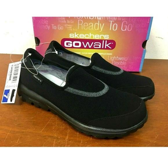 Skechers Women's Go Walk Glitz Slip On Shoes BLACK Boutique